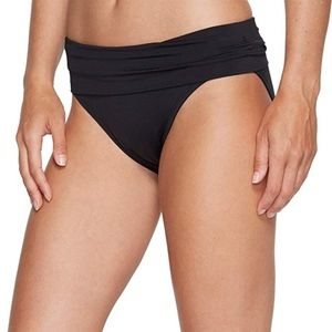 Jantzen Solid Shirred Waist Bikini Bottom Black